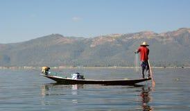 Рыболов озера Inle myanmar Стоковые Фото