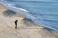 рыболов пляжа Стоковые Изображения