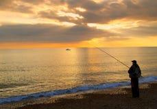 рыболов пляжа Стоковая Фотография