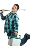 рыболов счастливый его штанга Стоковые Фото