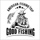Рыболов с рыболовной удочкой вытягивает вектор силуэта рыб иллюстрация вектора