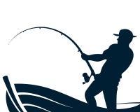 Рыболов с рыболовной удочкой в шлюпке иллюстрация штока