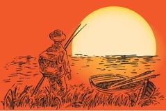 Рыболов с шлюпкой бесплатная иллюстрация