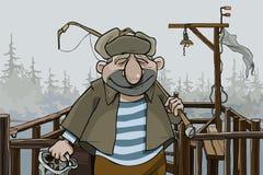 Рыболов человека шаржа стоя на пристани деревни иллюстрация вектора