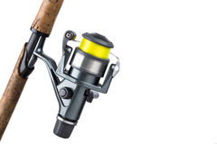 Рыболовная удочка и вьюрок с линией Стоковые Изображения