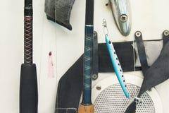 Рыболовные принадлежности на шлюпке Стоковое фото RF