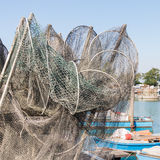 Рыболовные сети, creels и рыбацкие лодки Стоковые Фото