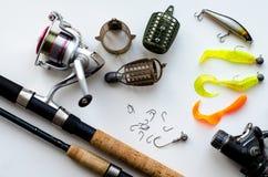Рыболовные снасти на белой предпосылке Стоковое фото RF