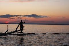 Рыболовство вечера стоковое фото rf