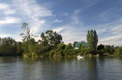 Рыболовство вылазки семьи на реке фермой Стоковое Изображение RF