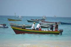 Рыболовы на деревянных задвижках шлюпки Стоковая Фотография RF