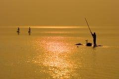 Рыболовы на зоре Стоковые Фото