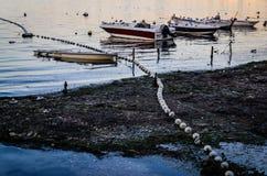 Рыболовы приютят на старой Марине Стоковая Фотография
