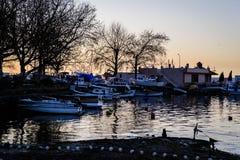 Рыболовы приютят на старой Марине Стоковая Фотография RF