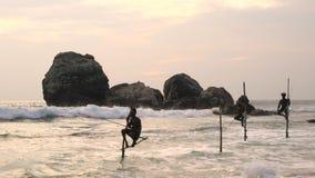 Рыболовы удя, заход солнца ходулей, nr Галле, побережье SW видеоматериал