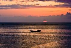 Рыболов Бали на заходе солнца Стоковая Фотография RF