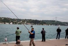 Рыболов в Стамбуле Стоковая Фотография RF