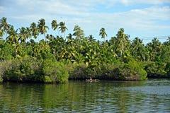 Рыболов в шлюпке на озере Koggala стоковая фотография