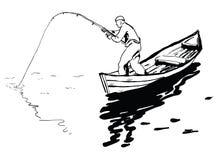 Рыболов в шлюпке иллюстрация вектора