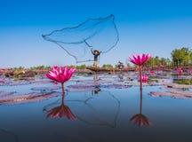 Рыболов и красный лотос Стоковые Фото