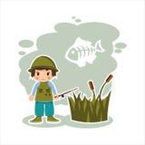 Рыболов мальчика в формате вектора Стоковое фото RF