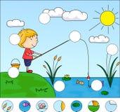 Рыболов мальчика с рыболовной удочкой на озере завершите головоломку иллюстрация вектора