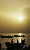 Рыболов на пляже Стоковые Фотографии RF
