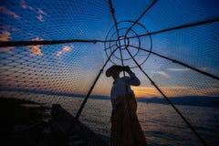 Рыболов озера Inle традиционный Стоковое Изображение RF