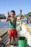 Рыболов омара на пляже Лос Cobanos Стоковые Изображения RF