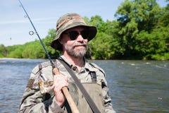 Рыболов портрета стоковое изображение rf