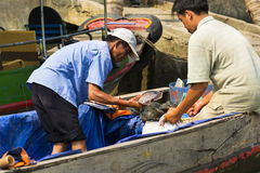 Рыболов продает рыб на шлюпке 14-ого февраля 2012 в моем Tho, Вьетнаме V Стоковое Фото