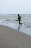 рыболов пляжа Стоковая Фотография RF