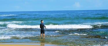 рыболов пляжа Стоковое Фото
