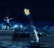 Рыболов ребенк Стоковая Фотография
