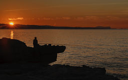 рыболов уединённый Стоковое фото RF