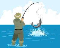 Рыболов улавливает щуку иллюстрация вектора