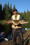 Рыболов уловил огромную щуку Стоковая Фотография