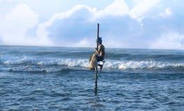 Рыболов ходулей - Шри-Ланка Стоковые Фото