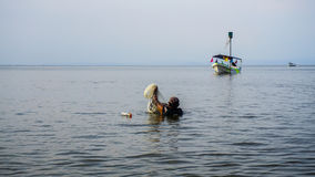 Рыболов шеи глубокий Стоковые Изображения RF
