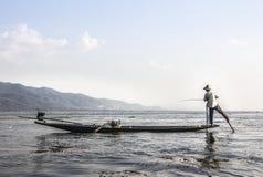 Рыболов Legrowing на озере Inle Стоковое фото RF