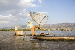 Рыболов Legrowing на озере Inle Стоковое Изображение