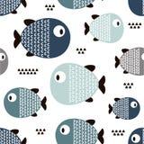 Рыбы, безшовная картина стоковое изображение