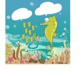 Рыбы в голубом океане - милая графическая иллюстрация морского конька мультфильма значка иллюстрация штока
