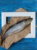 Рыбы в рамке на голубом деревянном столе Взгляд сверху Винтаж Стоковая Фотография RF