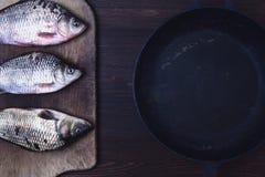 3 рыбы в реальном маштабе времени карпа в масштабы на кухне всходят на борт стоковые фотографии rf