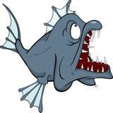 Рыбы глубоководья. Хищник. Шарж Стоковые Изображения RF