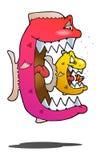 Рыбы есть цикл на изолированной белизне Стоковое Изображение
