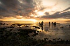 Рыбы задвижки рыболовов на зоре Стоковое Изображение