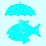 Рыбы и зонтик Стоковые Изображения