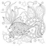 Рыбы и мандалы Doodle Стоковые Изображения RF